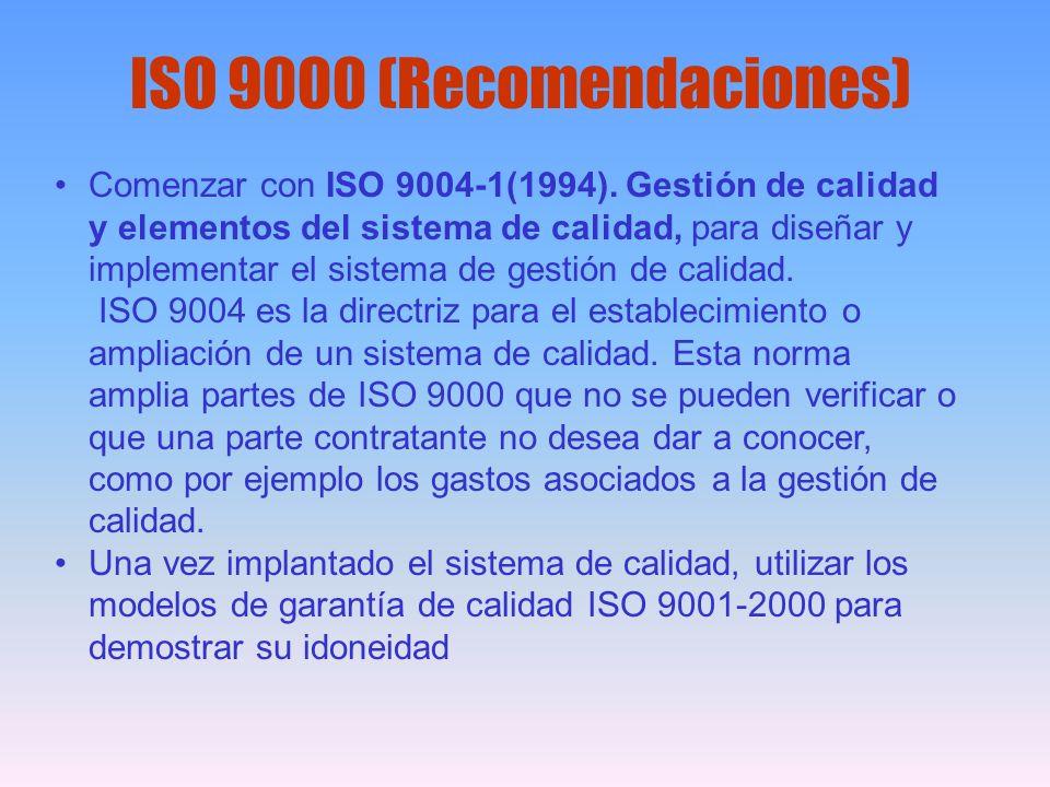Comenzar con ISO 9004-1(1994). Gestión de calidad y elementos del sistema de calidad, para diseñar y implementar el sistema de gestión de calidad. ISO