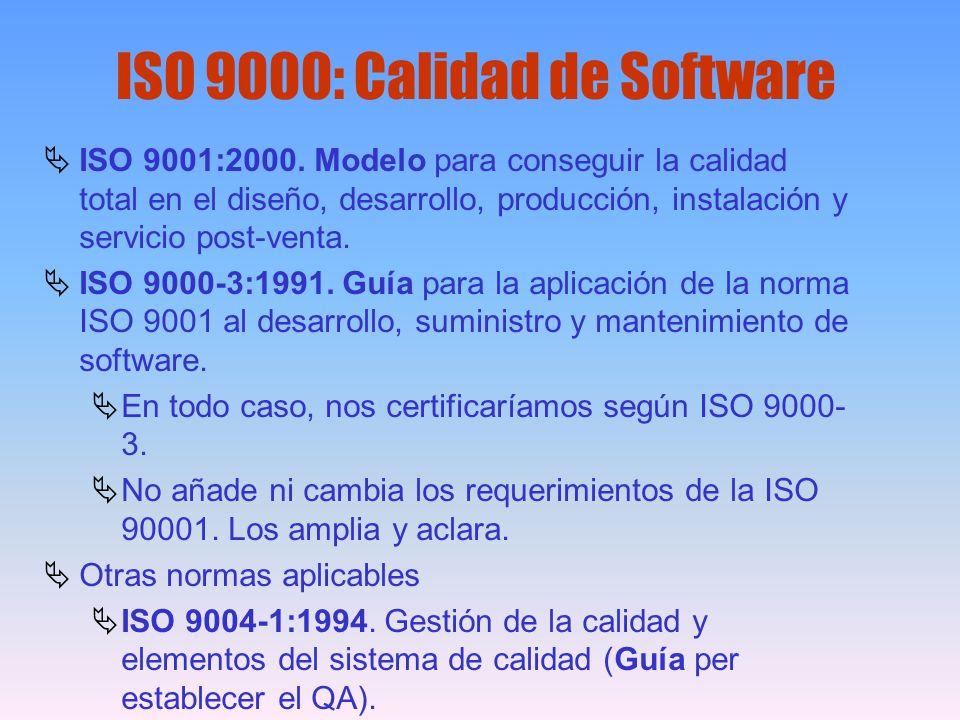 ISO 9000: Calidad de Software ISO 9001:2000. Modelo para conseguir la calidad total en el diseño, desarrollo, producción, instalación y servicio post-