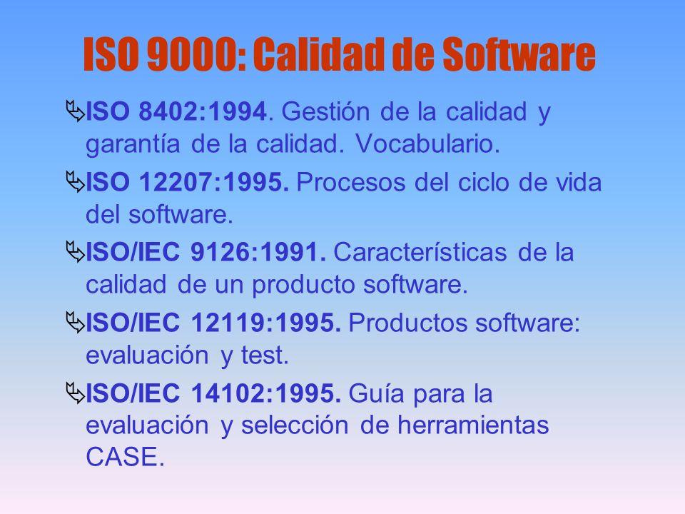 ISO 9000: Calidad de Software ISO 8402:1994. Gestión de la calidad y garantía de la calidad. Vocabulario. ISO 12207:1995. Procesos del ciclo de vida d