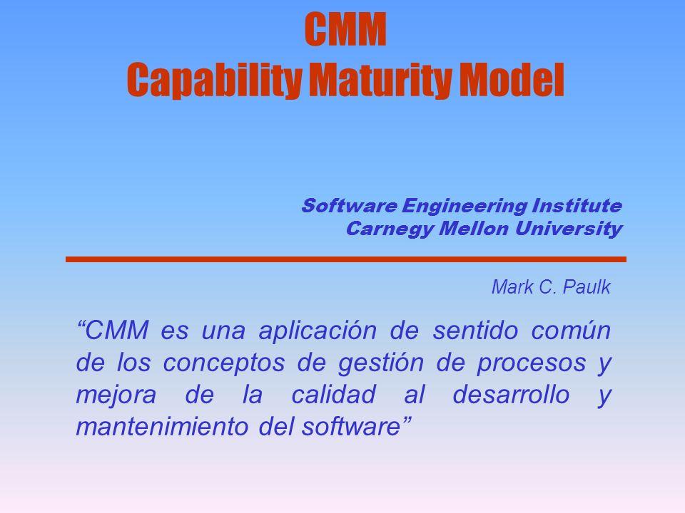Software Engineering Institute Carnegy Mellon University Mark C. Paulk CMM es una aplicación de sentido común de los conceptos de gestión de procesos