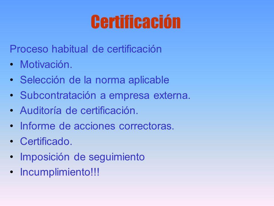 Certificación Proceso habitual de certificación Motivación. Selección de la norma aplicable Subcontratación a empresa externa. Auditoría de certificac
