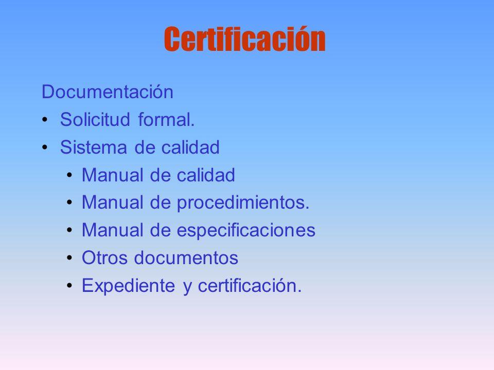 Certificación Documentación Solicitud formal. Sistema de calidad Manual de calidad Manual de procedimientos. Manual de especificaciones Otros document