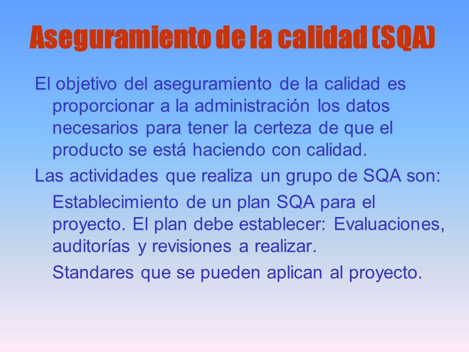 Aseguramiento de la calidad (SQA) El objetivo del aseguramiento de la calidad es proporcionar a la administración los datos necesarios para tener la c