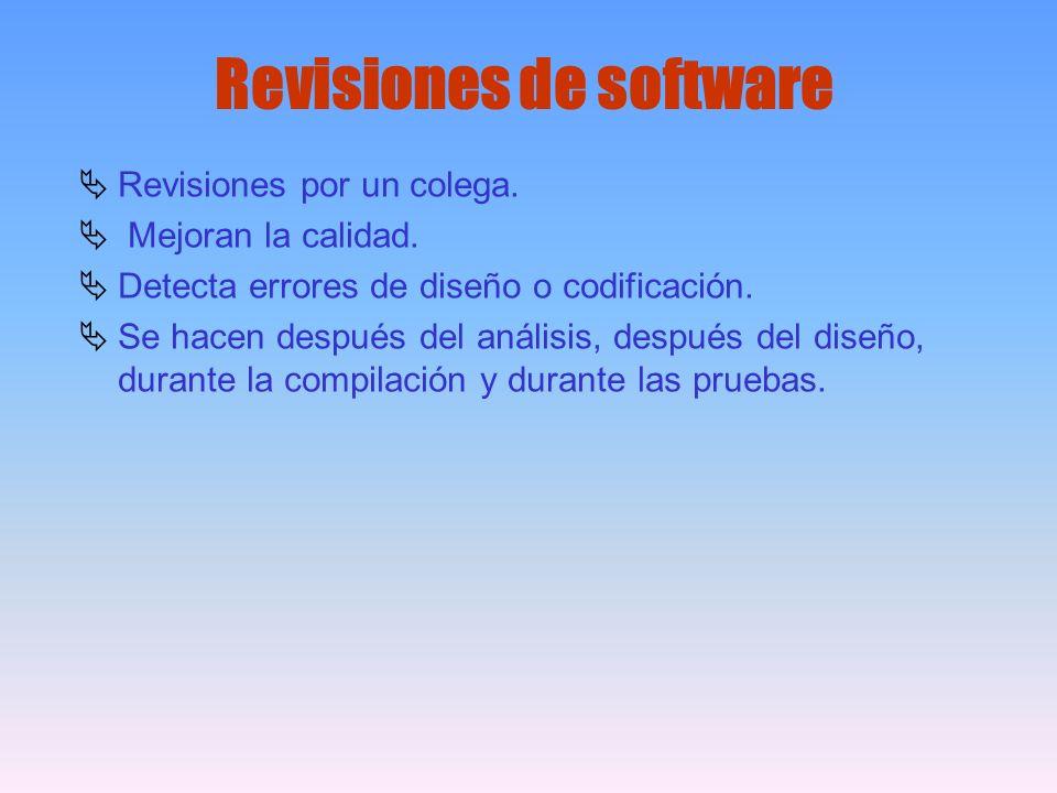 Revisiones de software Revisiones por un colega. Mejoran la calidad. Detecta errores de diseño o codificación. Se hacen después del análisis, después