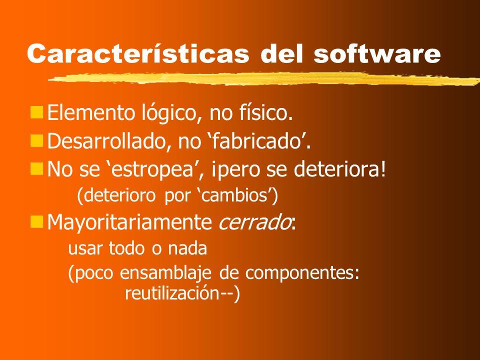 El Software El Software: nInstrucciones que, cuando se ejecutan, proporcionan la funcionalidad deseada. nEstructuras de datos que facilitan a las inst