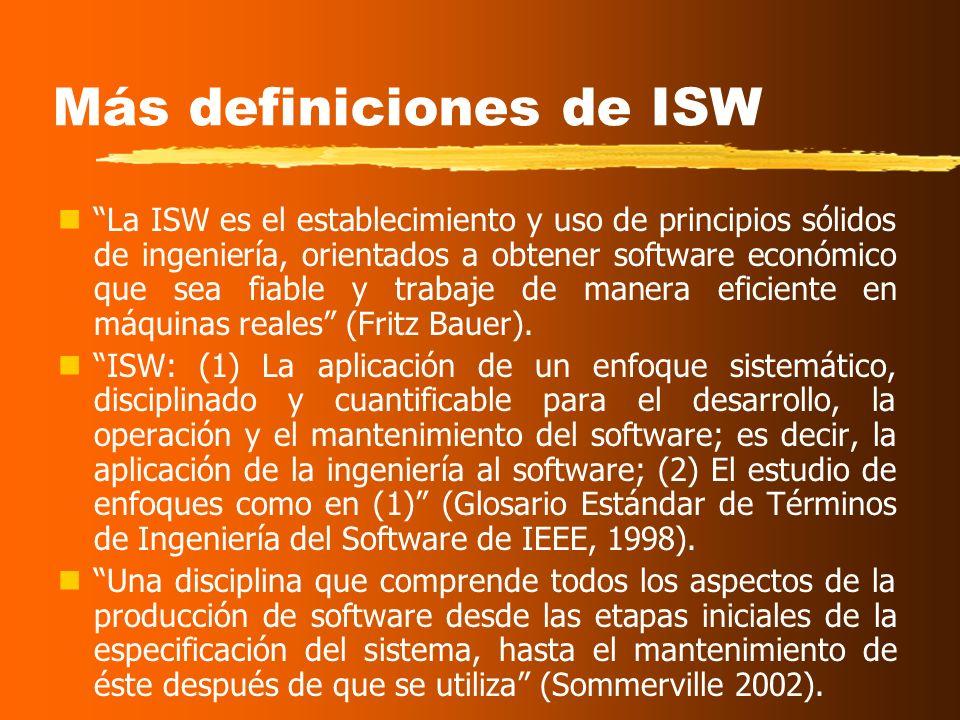 Objetivos de la Ingeniería del Software Término que aparece en 1968 La producción de programas debe abordarse como una ingeniería más. (Boehm) La Inge
