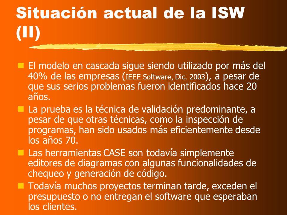 Situación actual de la ISW En los últimos 20 años, nLos cambios en hardware han sido enormes. nAparentemente, los cambios en software también: P.ej.,