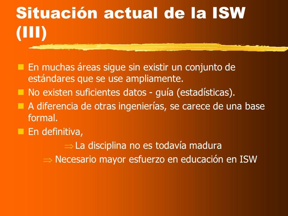 Situación actual de la ISW (II) El modelo en cascada sigue siendo utilizado por más del 40% de las empresas ( IEEE Software, Dic. 2003 ), a pesar de q