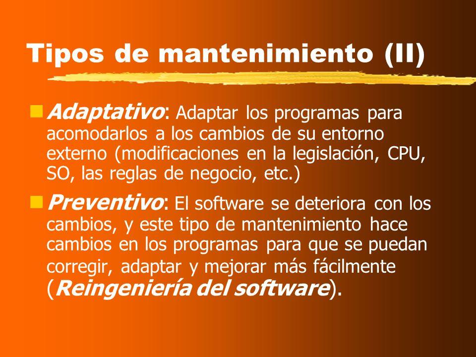Tipos de mantenimiento Correctivo: un programa no realiza correctamente la aplicación para la que ha sido diseñado, y, por tanto, debe ser modificado.