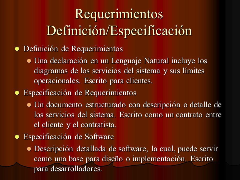Requerimientos Definición/Especificación Definición de Requerimientos Definición de Requerimientos Una declaración en un Lenguaje Natural incluye los