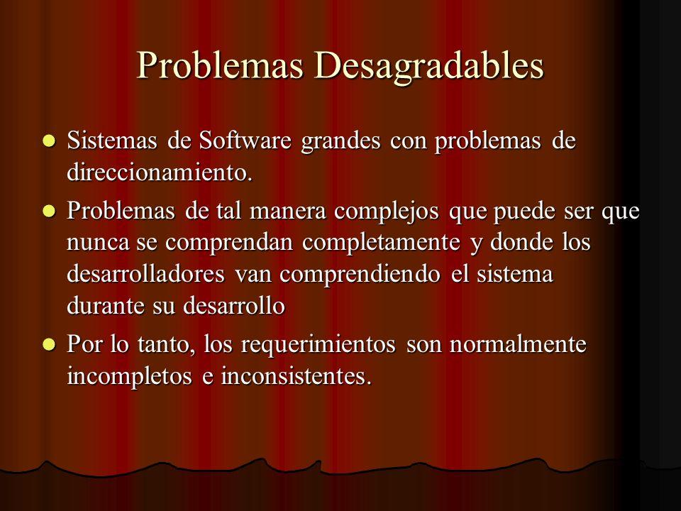 Problemas Desagradables Sistemas de Software grandes con problemas de direccionamiento. Sistemas de Software grandes con problemas de direccionamiento
