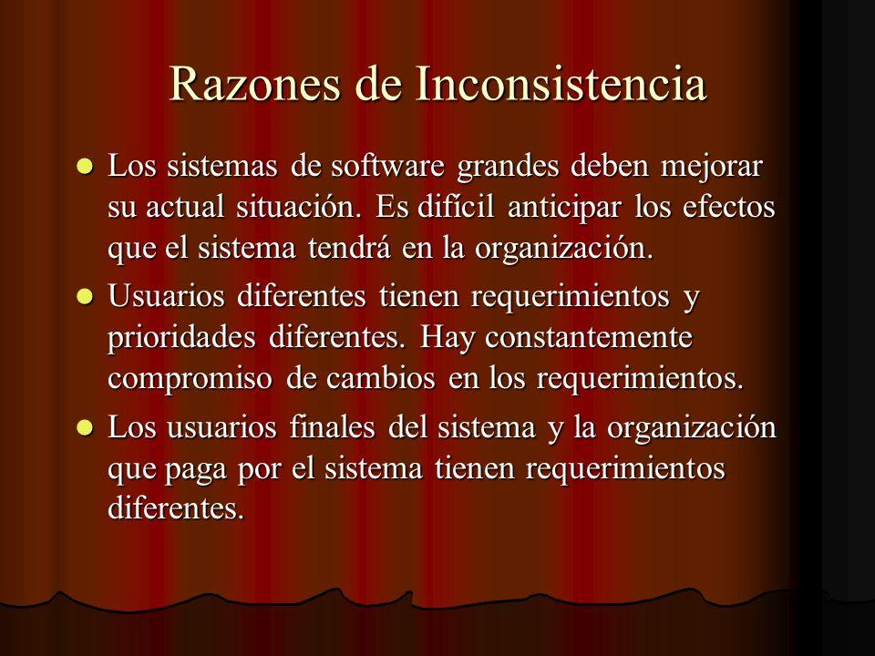 Razones de Inconsistencia Los sistemas de software grandes deben mejorar su actual situación. Es difícil anticipar los efectos que el sistema tendrá e