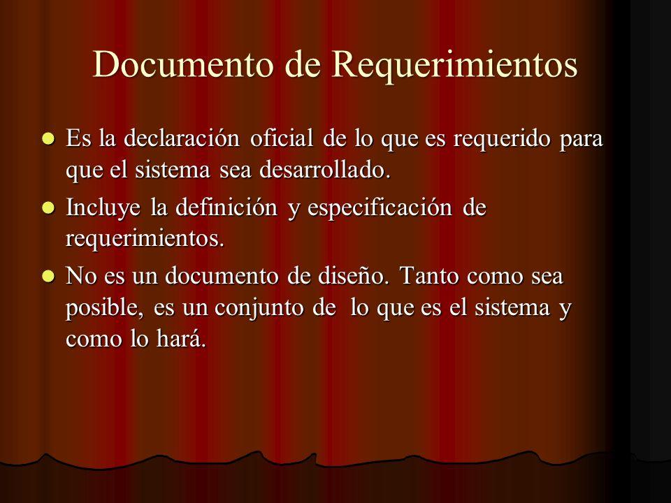 Documento de Requerimientos Es la declaración oficial de lo que es requerido para que el sistema sea desarrollado. Es la declaración oficial de lo que