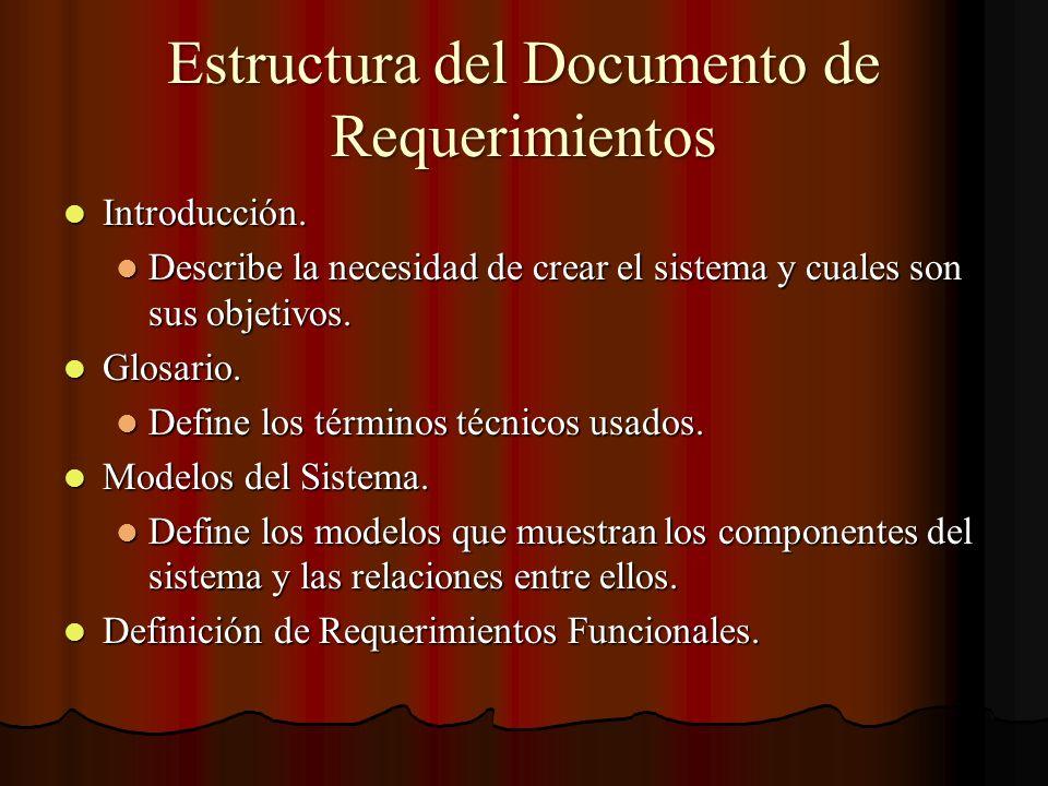 Estructura del Documento de Requerimientos Introducción. Introducción. Describe la necesidad de crear el sistema y cuales son sus objetivos. Describe
