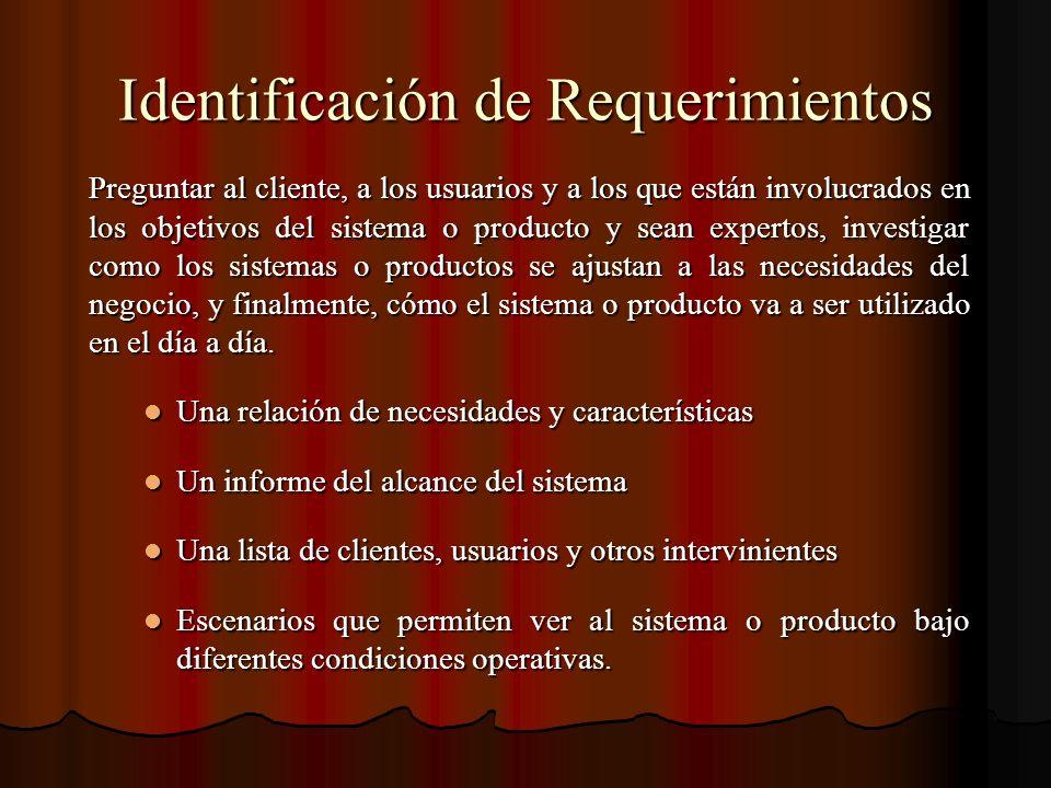 Identificación de Requerimientos Preguntar al cliente, a los usuarios y a los que están involucrados en los objetivos del sistema o producto y sean ex