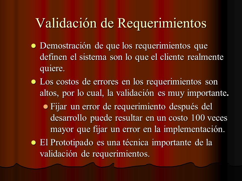 Validación de Requerimientos Demostración de que los requerimientos que definen el sistema son lo que el cliente realmente quiere. Demostración de que
