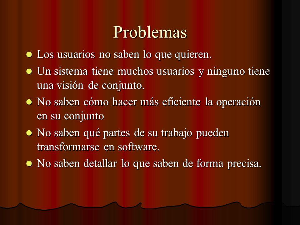 Problemas Los usuarios no saben lo que quieren. Los usuarios no saben lo que quieren. Un sistema tiene muchos usuarios y ninguno tiene una visión de c