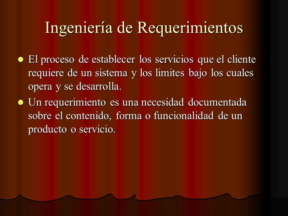 Ingeniería de Requerimientos El proceso de establecer los servicios que el cliente requiere de un sistema y los limites bajo los cuales opera y se des