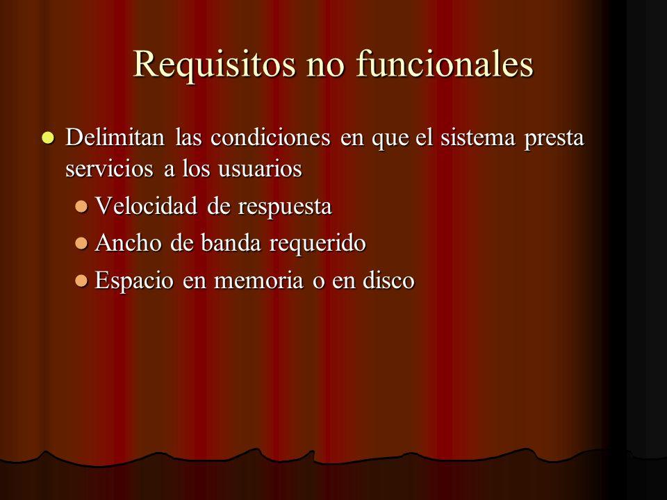 Requisitos no funcionales Delimitan las condiciones en que el sistema presta servicios a los usuarios Delimitan las condiciones en que el sistema pres
