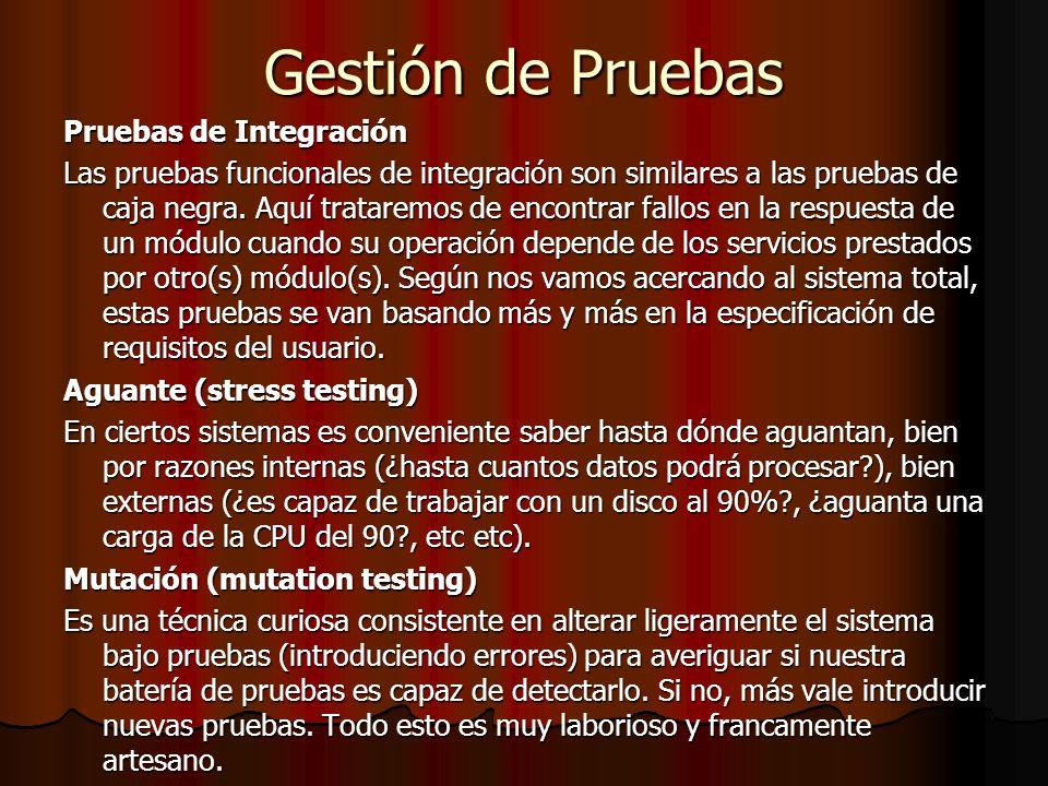 Gestión de Pruebas Pruebas de Integración Las pruebas funcionales de integración son similares a las pruebas de caja negra. Aquí trataremos de encontr
