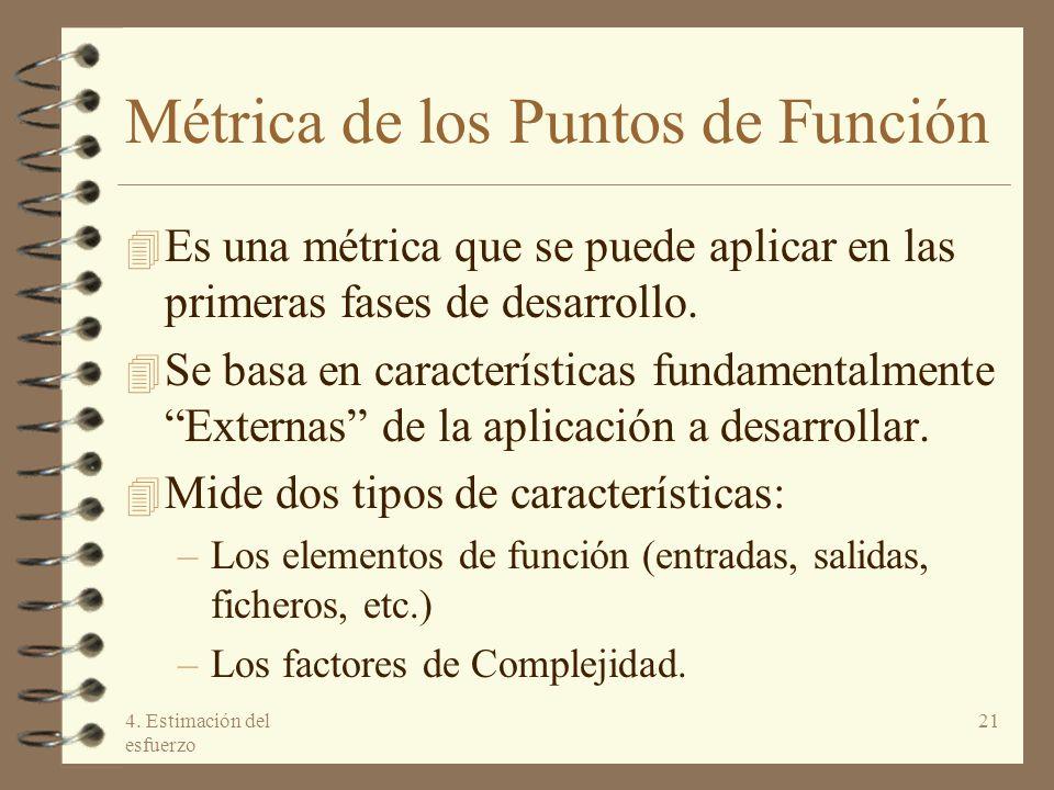 4. Estimación del esfuerzo 21 Métrica de los Puntos de Función 4 Es una métrica que se puede aplicar en las primeras fases de desarrollo. 4 Se basa en