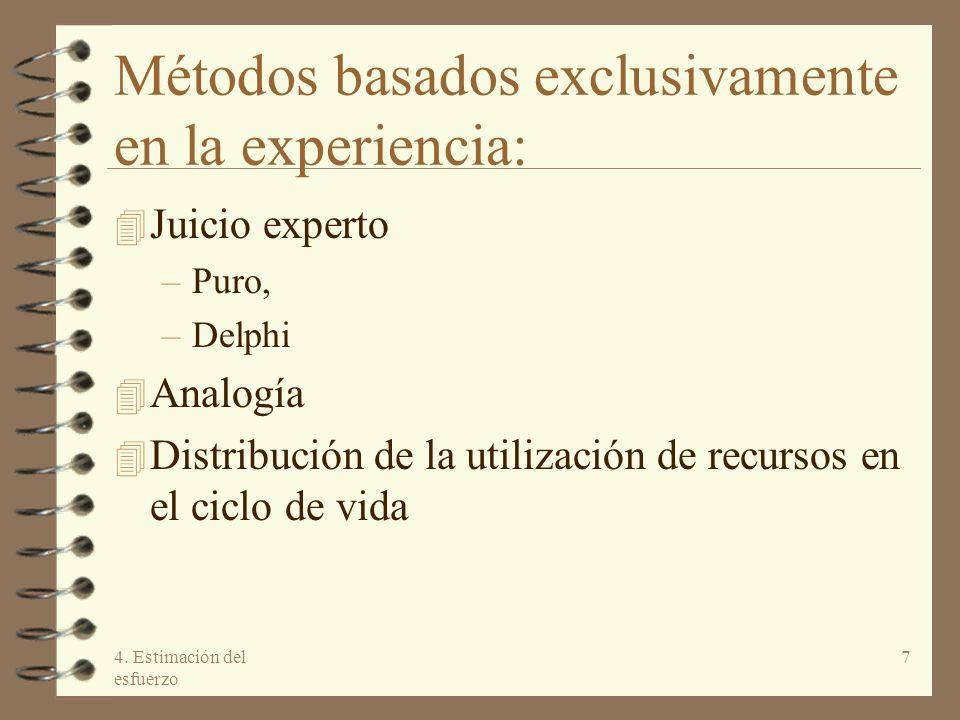 4. Estimación del esfuerzo 7 Métodos basados exclusivamente en la experiencia: 4 Juicio experto –Puro, –Delphi 4 Analogía 4 Distribución de la utiliza