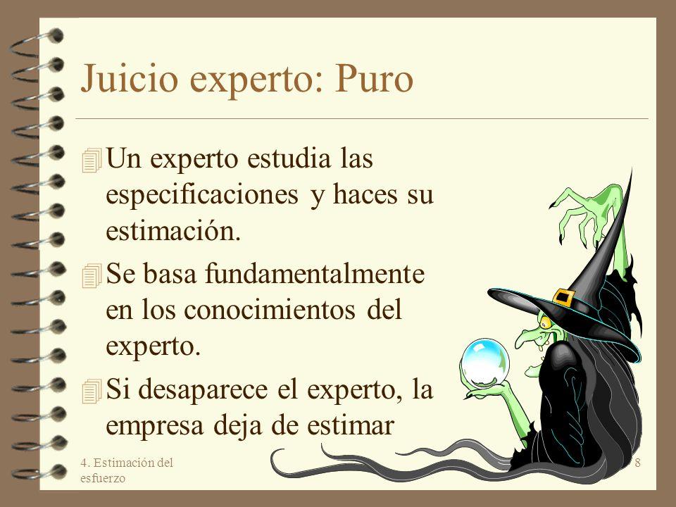 4. Estimación del esfuerzo 8 Juicio experto: Puro 4 Un experto estudia las especificaciones y haces su estimación. 4 Se basa fundamentalmente en los c