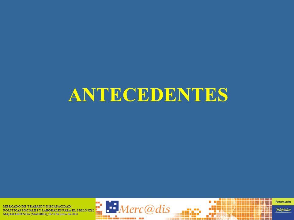 MERCADO DE TRABAJO Y DISCAPACIDAD. POLÍTICAS SOCIALES Y LABORALES PARA EL SIGLO XXI MAJADAHONDA (MADRID), 18-19 de junio de 2003 1 1.- ANTECEDENTES 2.