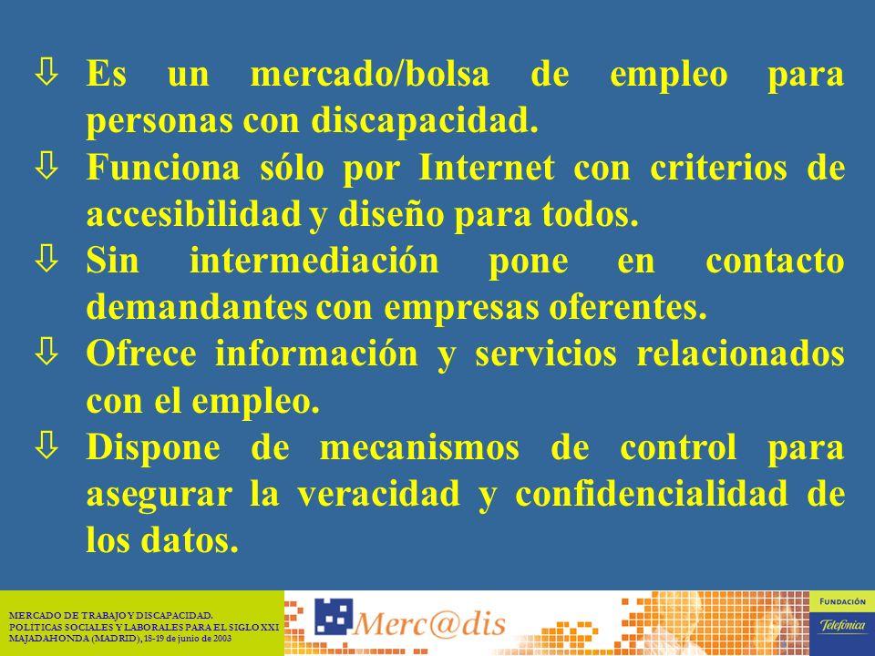 MERCADO DE TRABAJO Y DISCAPACIDAD. POLÍTICAS SOCIALES Y LABORALES PARA EL SIGLO XXI MAJADAHONDA (MADRID), 18-19 de junio de 2003 3 En marzo de 1999 fi