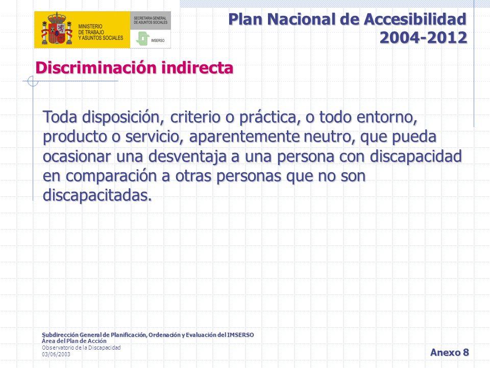 Plan Nacional de Accesibilidad 2004-2012 Subdirección General de Planificación, Ordenación y Evaluación del IMSERSO Área del Plan de Acción Observatorio de la Discapacidad 03/06/2003 Anexo 9 Ajuste razonable Es toda adecuación del entorno físico o social a las necesidades específicas de la personas con discapacidad.