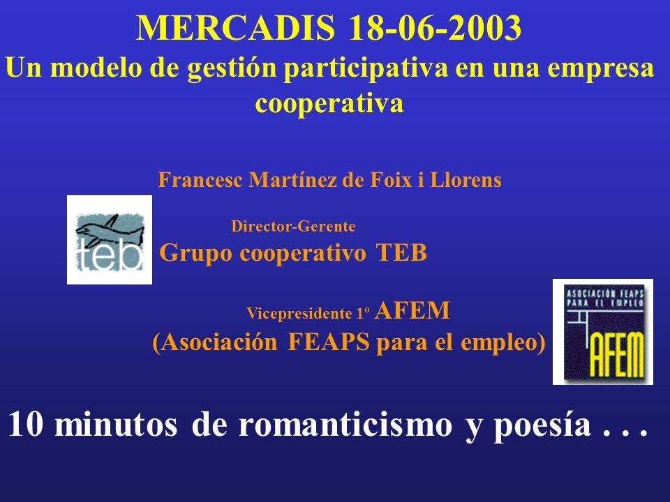 MERCADIS 18-06-2003 Un modelo de gestión participativa en una empresa cooperativa 10 minutos de romanticismo y poesía...