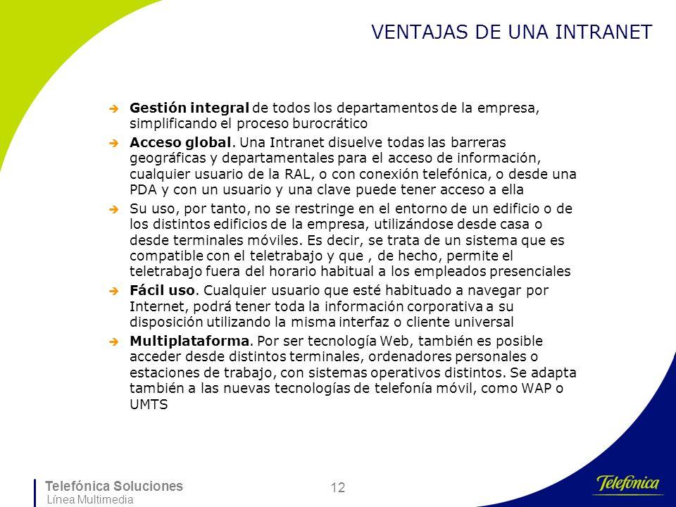 Telefónica Soluciones Línea Multimedia 12 VENTAJAS DE UNA INTRANET Gestión integral de todos los departamentos de la empresa, simplificando el proceso