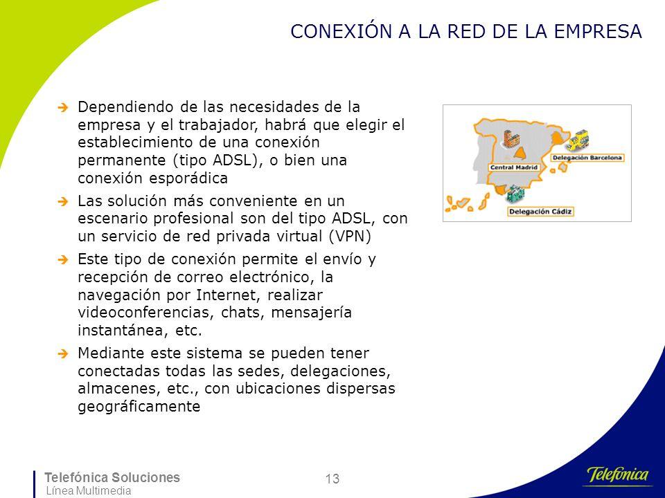 Telefónica Soluciones Línea Multimedia 13 CONEXIÓN A LA RED DE LA EMPRESA Dependiendo de las necesidades de la empresa y el trabajador, habrá que eleg