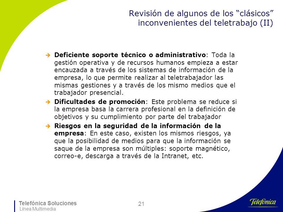 Telefónica Soluciones Línea Multimedia 21 Revisión de algunos de los clásicos inconvenientes del teletrabajo (II) Deficiente soporte técnico o adminis