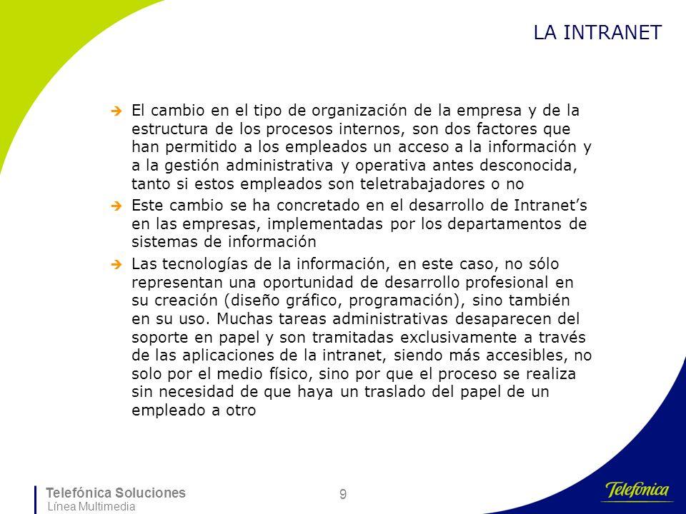 Telefónica Soluciones Línea Multimedia 9 LA INTRANET El cambio en el tipo de organización de la empresa y de la estructura de los procesos internos, s