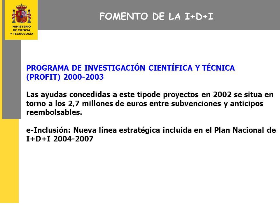 FOMENTO DE LA I+D+I PROGRAMA DE INVESTIGACIÓN CIENTÍFICA Y TÉCNICA (PROFIT) 2000-2003 Las ayudas concedidas a este tipode proyectos en 2002 se situa en torno a los 2,7 millones de euros entre subvenciones y anticipos reembolsables.