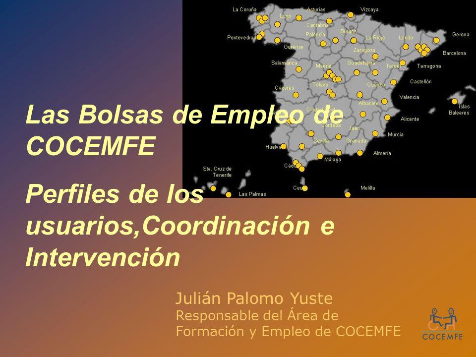 Las Bolsas de Empleo de COCEMFE Perfiles de los usuarios,Coordinación e Intervención Julián Palomo Yuste Responsable del Área de Formación y Empleo de COCEMFE