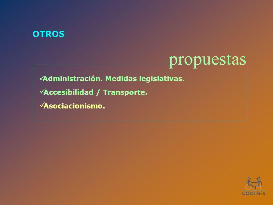 OTROS Administración. Medidas legislativas. Accesibilidad / Transporte. Asociacionismo. propuestas