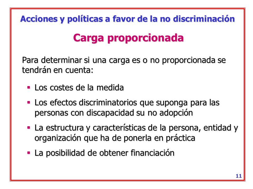 Acciones y políticas a favor de la no discriminación 10 Ajuste razonable Es toda adecuación del entorno físico o social a las necesidades específicas de la personas con discapacidad.