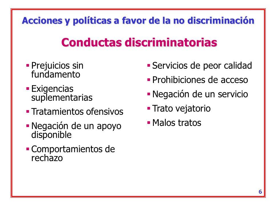 Acciones y políticas a favor de la no discriminación 5 Discriminación por razón de discapacidad Tratar, de manera directa o indirecta, a una persona con discapacidad menos favorablemente que a otra que no lo sea y se encuentre en situación análoga.