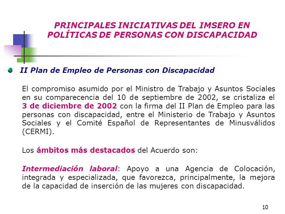 10 PRINCIPALES INICIATIVAS DEL IMSERO EN POLÍTICAS DE PERSONAS CON DISCAPACIDAD II Plan de Empleo de Personas con Discapacidad El compromiso asumido p