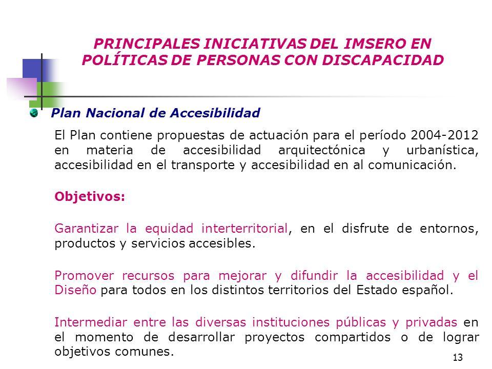 13 PRINCIPALES INICIATIVAS DEL IMSERO EN POLÍTICAS DE PERSONAS CON DISCAPACIDAD Plan Nacional de Accesibilidad El Plan contiene propuestas de actuació