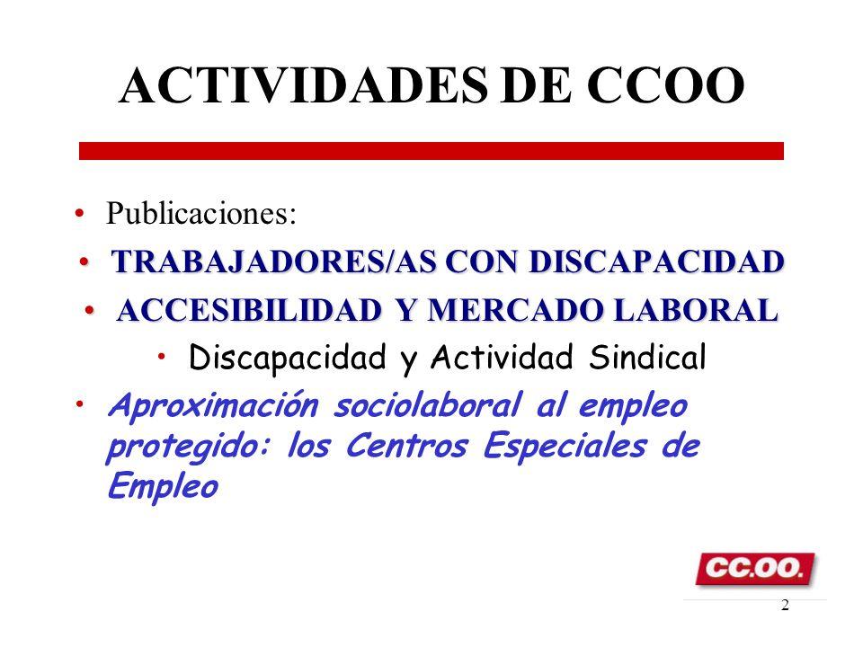 Secretaria Confederal de Política Social 1 La perspectiva sindical ante empleo normalizado del trabajador con discapacidad José María Fernández de Vil