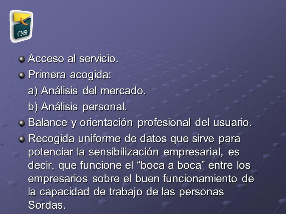Acceso al servicio. Primera acogida: a) Análisis del mercado. b) Análisis personal. Balance y orientación profesional del usuario. Recogida uniforme d