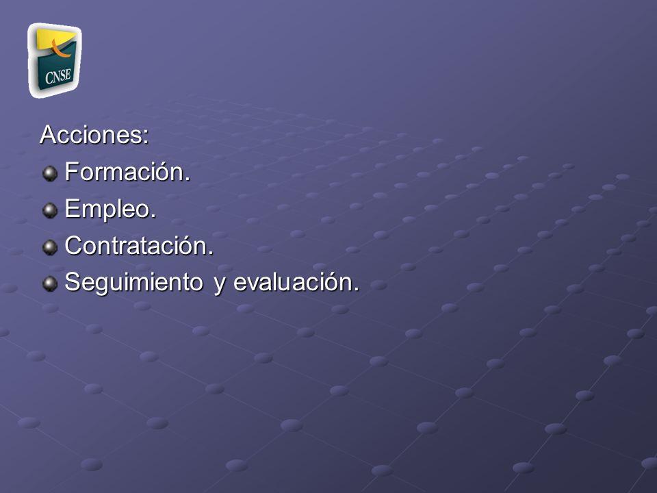 Acciones: Formación. Empleo. Contratación. Seguimiento y evaluación.