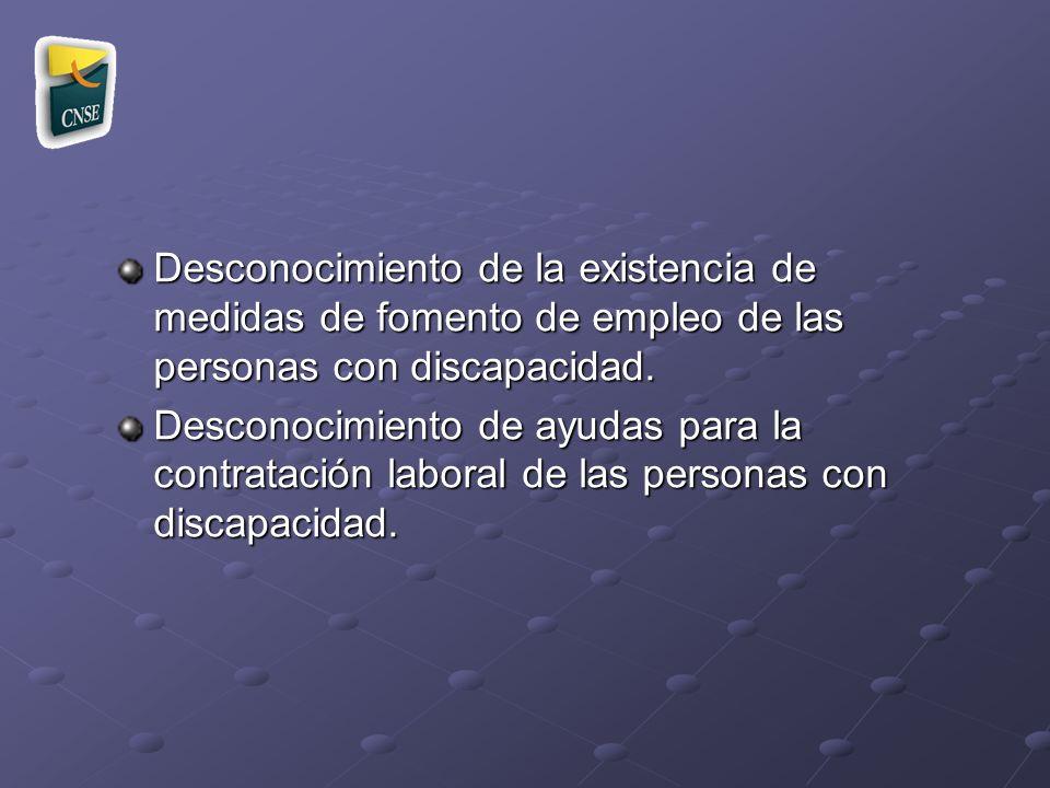 Desconocimiento de la existencia de medidas de fomento de empleo de las personas con discapacidad. Desconocimiento de ayudas para la contratación labo