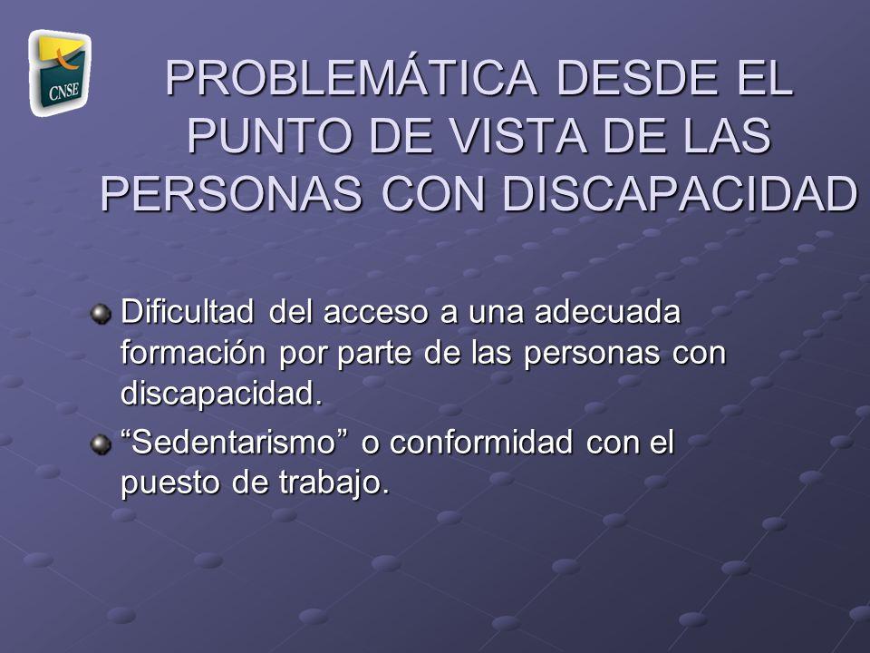 PROBLEMÁTICA DESDE EL PUNTO DE VISTA DE LAS PERSONAS CON DISCAPACIDAD Dificultad del acceso a una adecuada formación por parte de las personas con dis