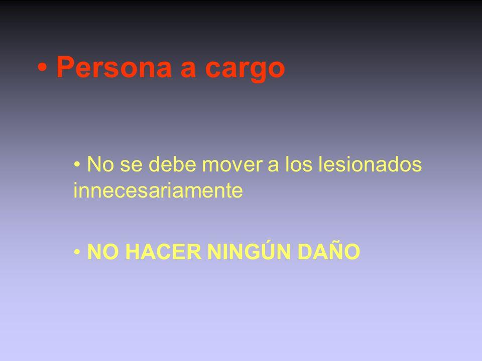 Persona a cargo: responsabilidades (II) Decidir como mover al lesionado si no se requiere una ambulancia Notificar a la persona que llama si la ambula