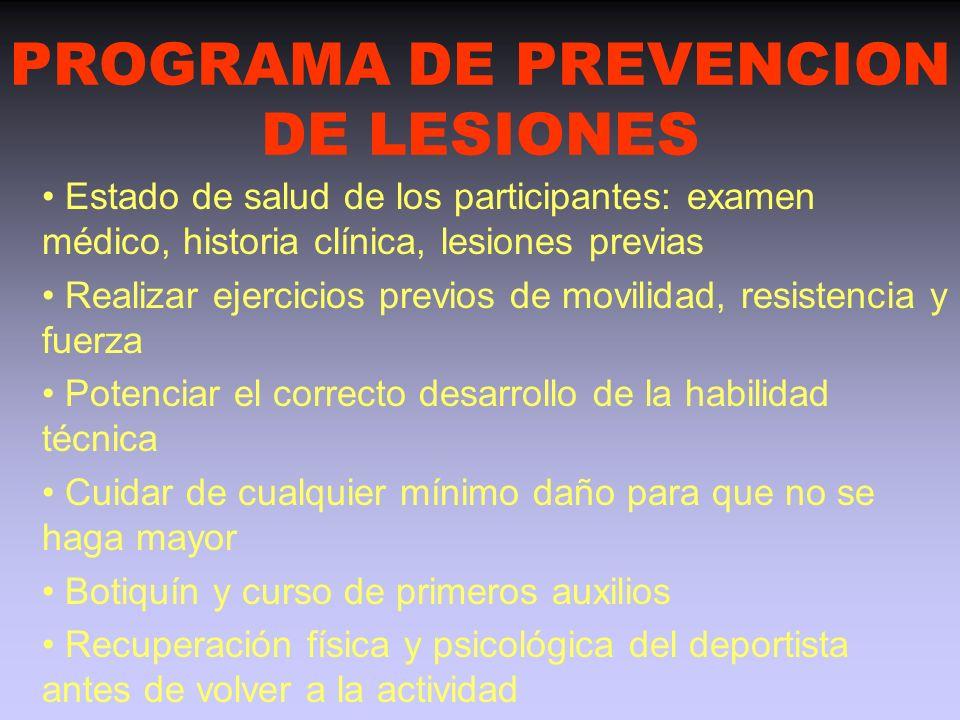PREVENCION DE LAS LESIONES Orientar a los deportistas para prevenir las lesiones responsabilidad del entrenador