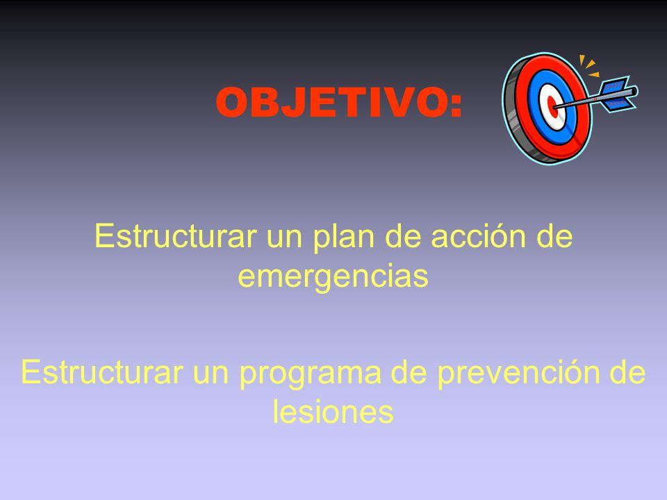 OBJETIVO: Estructurar un plan de acción de emergencias Estructurar un programa de prevención de lesiones